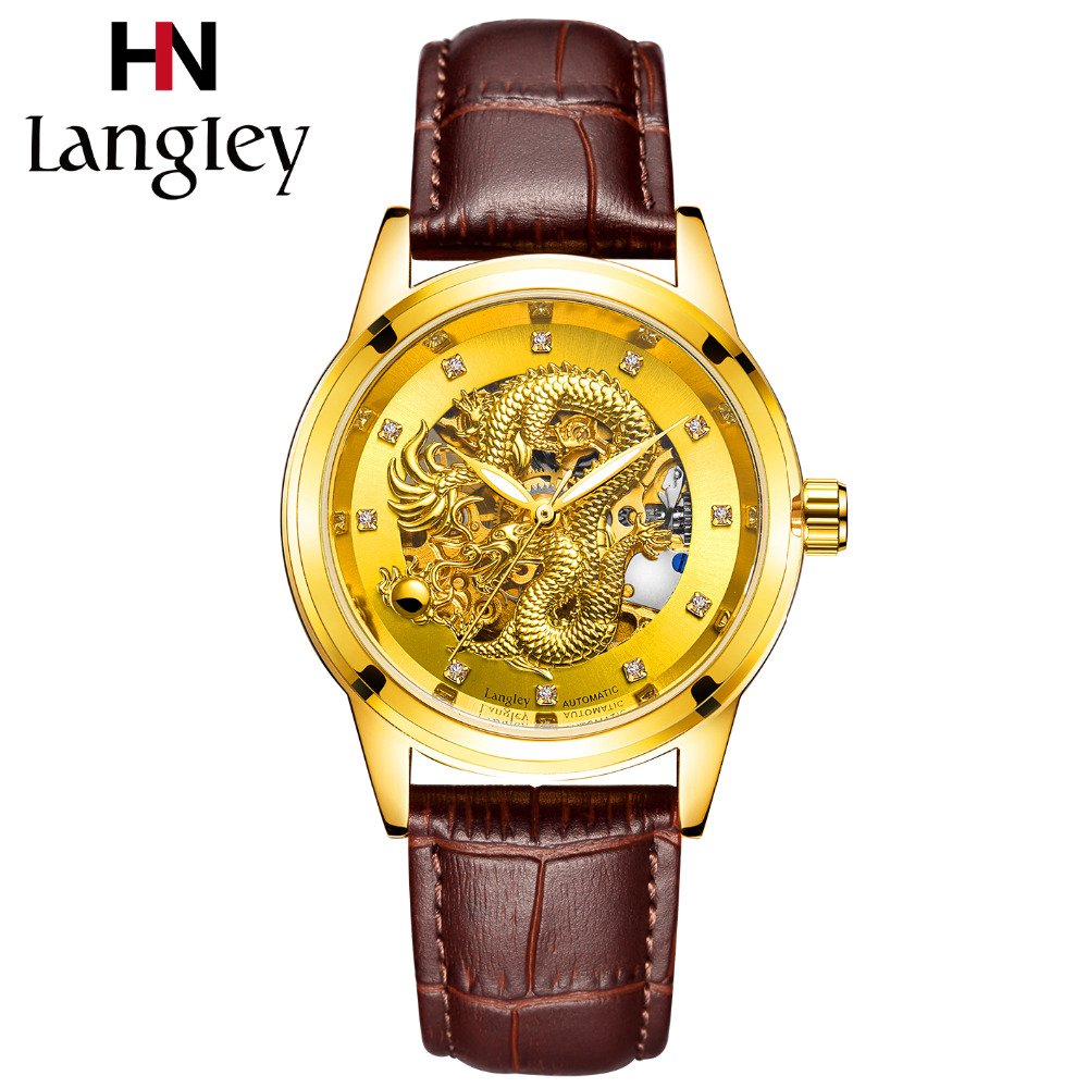 LANGLEY 3D Dragon Design Automatic Skeleton Watch Luxury Men Genuine Leather Gold Mechanical Wristwatch Low Price Clearance saleLANGLEY 3D Dragon Design Automatic Skeleton Watch Luxury Men Genuine Leather Gold Mechanical Wristwatch Low Price Clearance sale