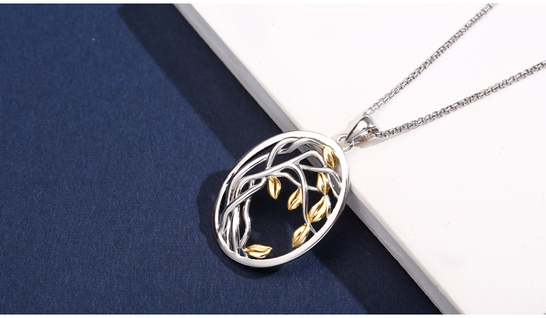 925 Sterling Silver Tree Designed Pendant Necklace