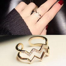 RE Korea Style Lightning Waves finger rings for women Layered band Adjustable Ring Girl Gifts anillos mujer ring Jewelry J35 gorgeous layered rhinestone cuff ring for women