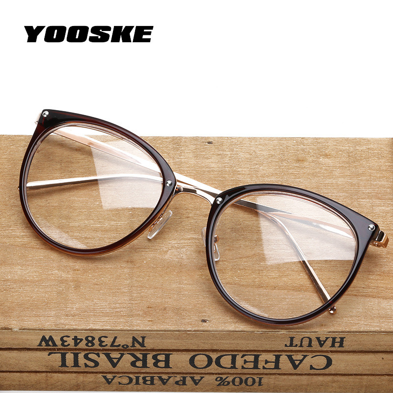 YOOSKE Oversized Clear Lens Glasses Men Women Retro Metal Frame Eyeglasses Transparent Optical Cat Eye Glasses Frames Spectacle