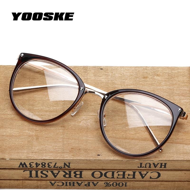 YOOSKE Oversized Clear Lens Glasses Men Women Retro Metal Frame Eyeglasses Transparent Optical Cat Eye Glasses Frames Spectacle