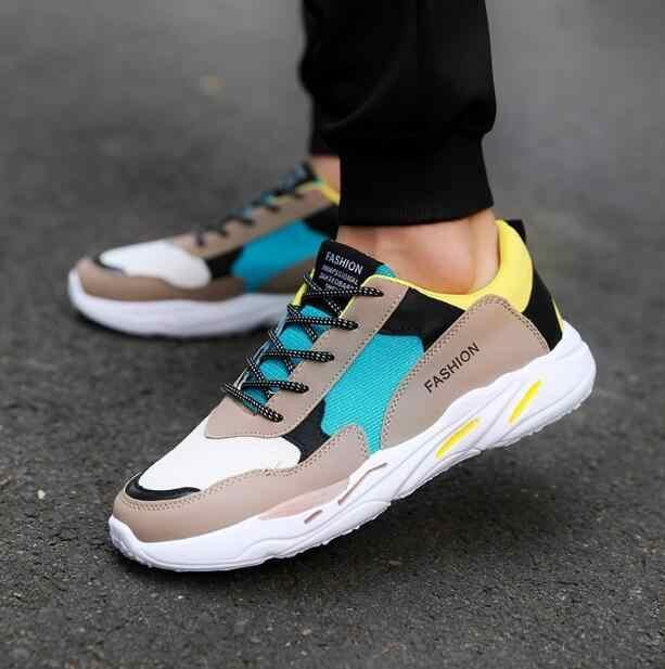 Zapatos casuales de malla de hombre transpirables 2018 nuevo otoño y primavera tejidos de mosca zapatos planos de moda masculina calzado