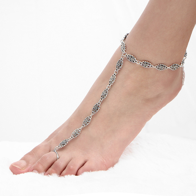 023c860c096283 Antique Silver Color Anklets Accessories Women Sexy Barefoot Sandals Hollow  Flower Ankle Bracelets Beach Foot Chain Leg Jewelry