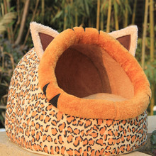 Funny winter warm soft Fleece leopard print small cave dog cat pet bed house kennel Animal Shape dog puppy nest sleeping bag
