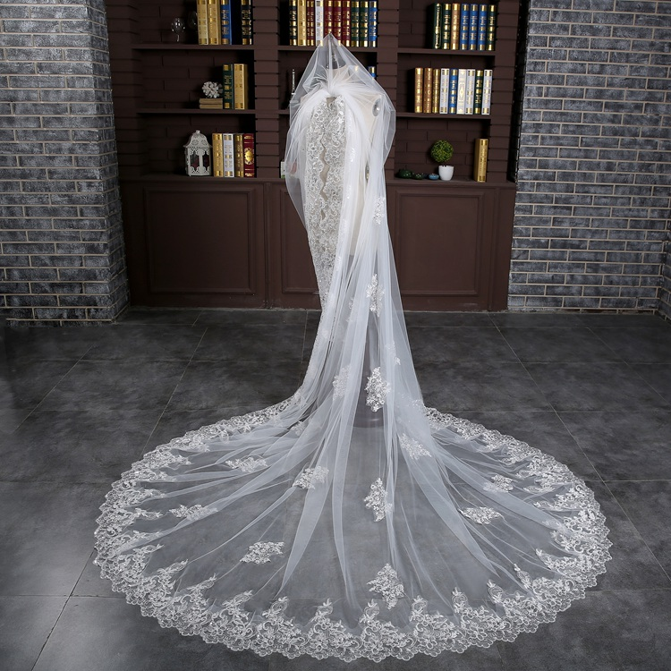 Long Bridal Veils 3-meter One Layer Lace Bride Veil With Comb Elegant Luxury Wedding Accessories High Quality (3)