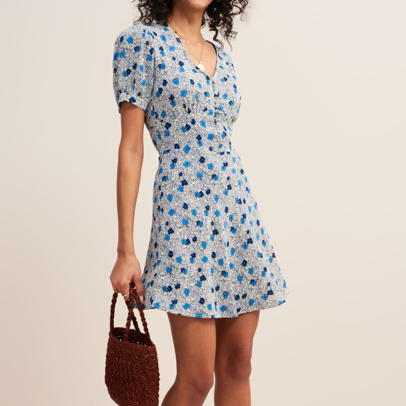 High Quality Blue Red Floral Print V Neck Button Front Short Mini Dress With Short Sleeve