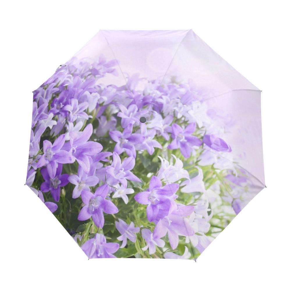 Frauen Blume Regenschirm Anti UV Schutz Sonnenschirm Lila Damen Rucksack Vollautomatischer Regenschirm 100% Polyester Wasserdicht