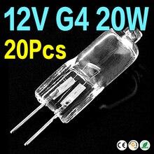 Дешевые Новые оптовые продажи 20 шт 10 шт Галогенные лампы G4 основание 20 Вт 12 в энергосберегающие вольфрамовые галогенные JC Тип светильник лампа
