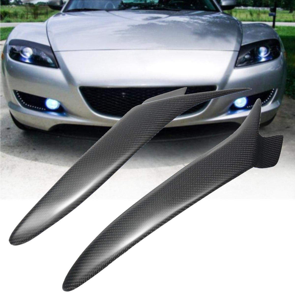 Real Carbon Fiber Headlight Eyebrows Eyelids Cover For Mazda RX 8 RX8 2004 2008 2001 2007 for mitsubishi lancer evolution evo 7 8 9 carbon fiber eyebrows eyelids headlight