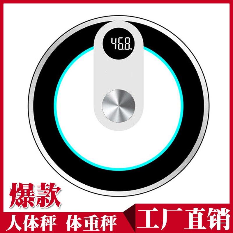 Best продажи 180 кг круговой ночное видение измерения температуры вес масштаба Smart черный зеленый ЖК-дисплей цифровой тела весы напольные ...