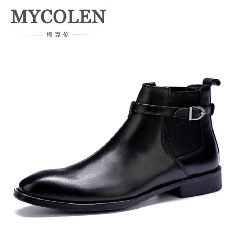 MYCOLEN Chelsea Boots Men Comfortable Safety Shoes Men Black Leather Boots Autumn Retro Motorcycle Ankle Boots Men Footwear