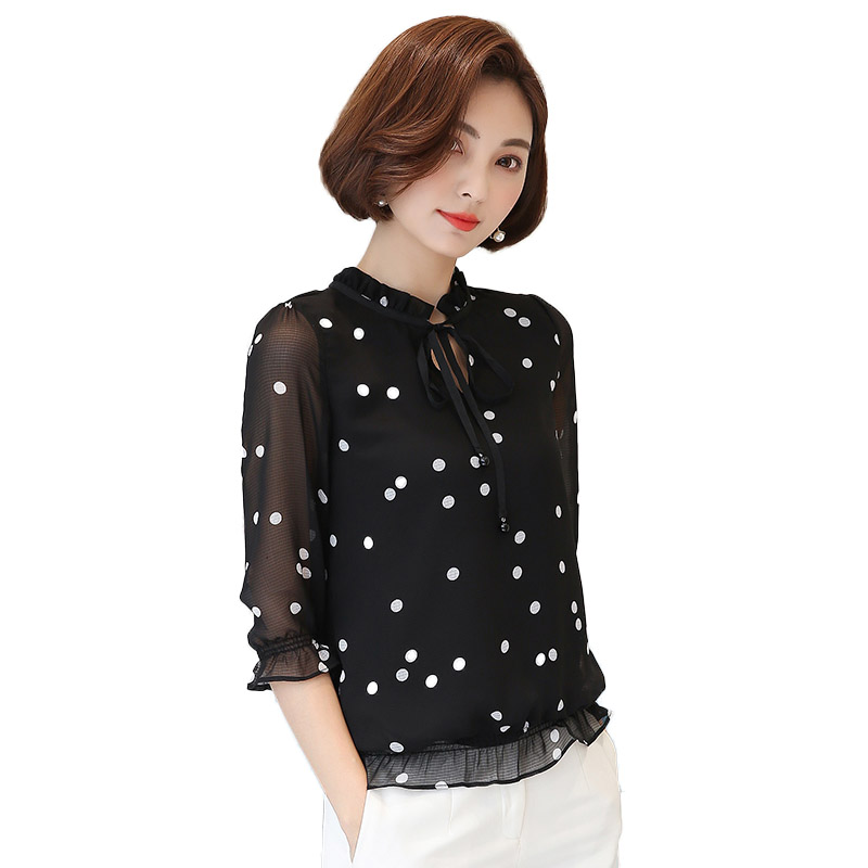 2017 Summer Polka font b Dot b font Ruffle Blouse Women Fashion font b 3 b online get cheap 3 dots shirts aliexpress com alibaba group,3 Dots Womens Clothing