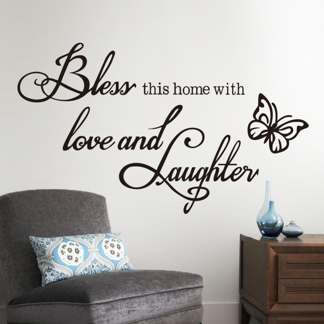 Fashion DIY Wall Sticker Quotes Decals Bless Home With Love And Laughter  Saying Quote Butterfly Wall