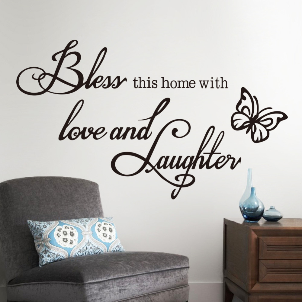 Wall stickers diy - Fashion Diy Wall Sticker Quotes Decals Bless Home With Love And Laughter Saying Quote Butterfly Wall