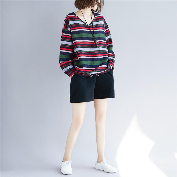Doornot Oversized Striped Woman Tops & Tees V neck Long sleeve Ladies Tshirts Fashion Loose Drawstring Linen Women T-shirt 16