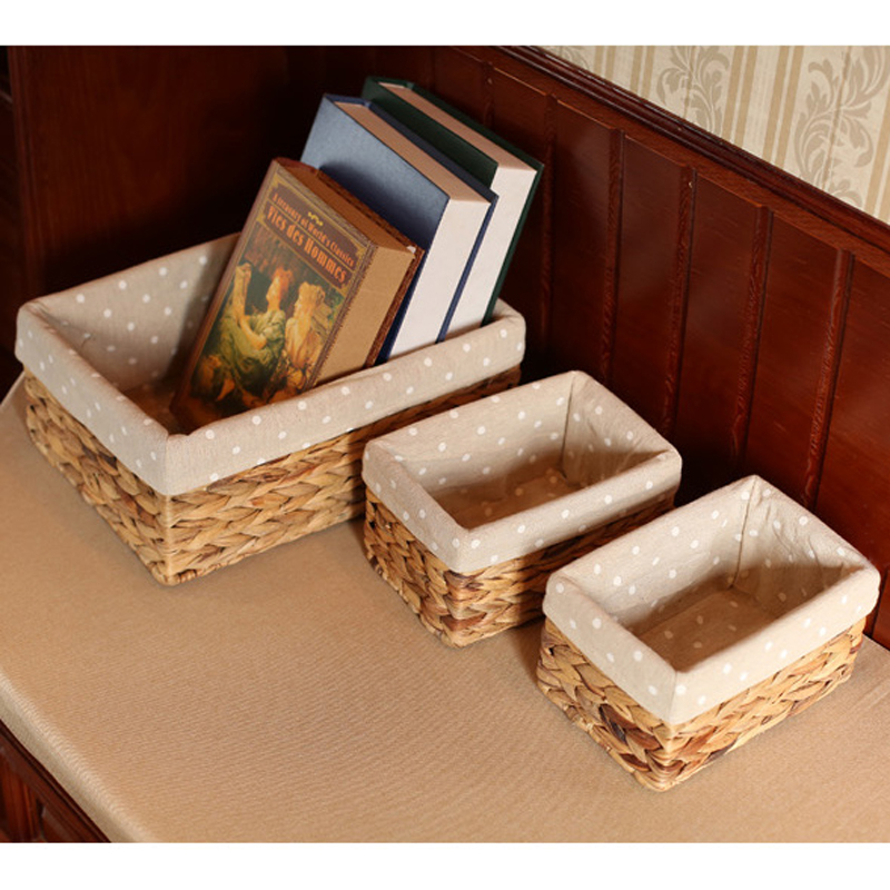 Woven Natural Water Hyacinth Rectangular Storage Baskets Bins for Shelves Organizer Container Cosmetics Box Panier De Rangement in Storage Baskets from Home Garden
