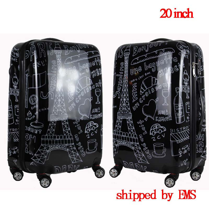 Фото Couples graffiti board chassis 20-inch trolley Caster women suitcase wheels rolling Luggage travel luggage case valise bagages
