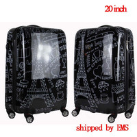 Couples Graffiti Board Chassis 20 Inch Trolley Caster Suitcase Luggage Women Luggage Travel Bags Bag On