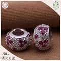 High Quality Real Silver Jewelry Accessories Beautiful 925 Sterling Silver Pink Stone Paving Flower Design Charm