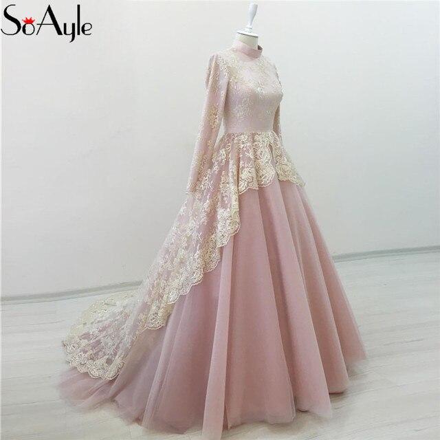 SoAyle Ball Gown High Neck Prom Dresses Pink Lace Tulle Long Sleeves Evening  Gowns Girls Graduate Vestidos De Festa Formal Dress 626b4d873792