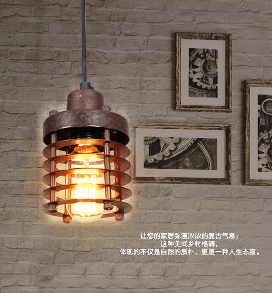 industrial circle retro small iron rust pendant light bars cafes clubs dining room hanging lamp one light frosted glass antique rust hanging lantern