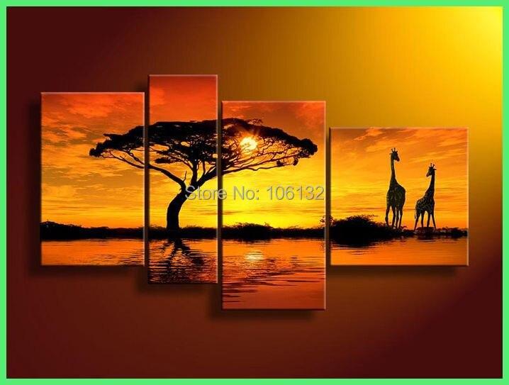 encadr 4 panneau grande image afrique toile peinture l 39 huile paysage d coration murale cadeau. Black Bedroom Furniture Sets. Home Design Ideas