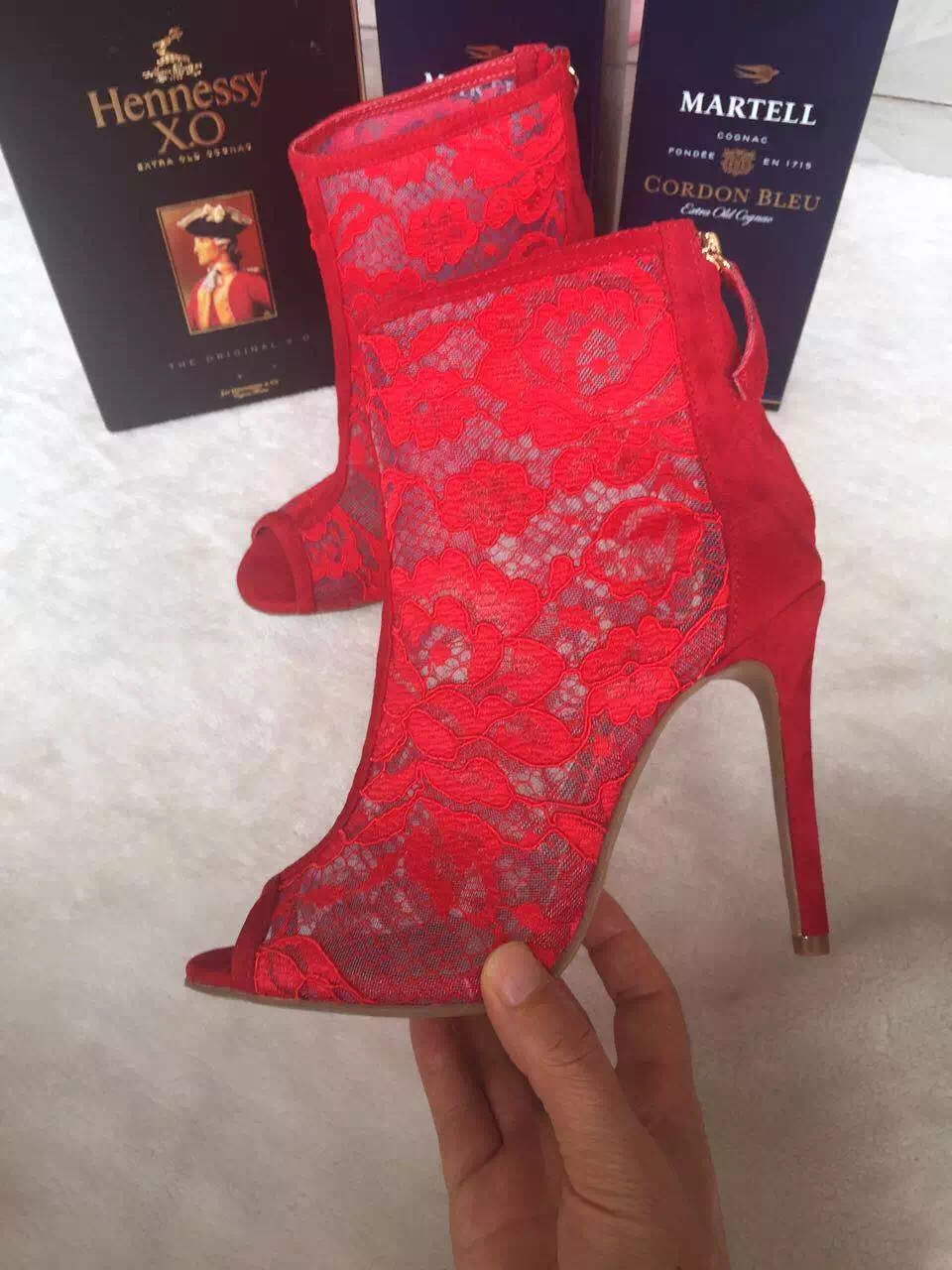 Real Photo Hottest Brand Peep Toe Lace Ankle Boots Back Zipper Women Gladiator Sandals Boots Women Cage Shoes Red Black White
