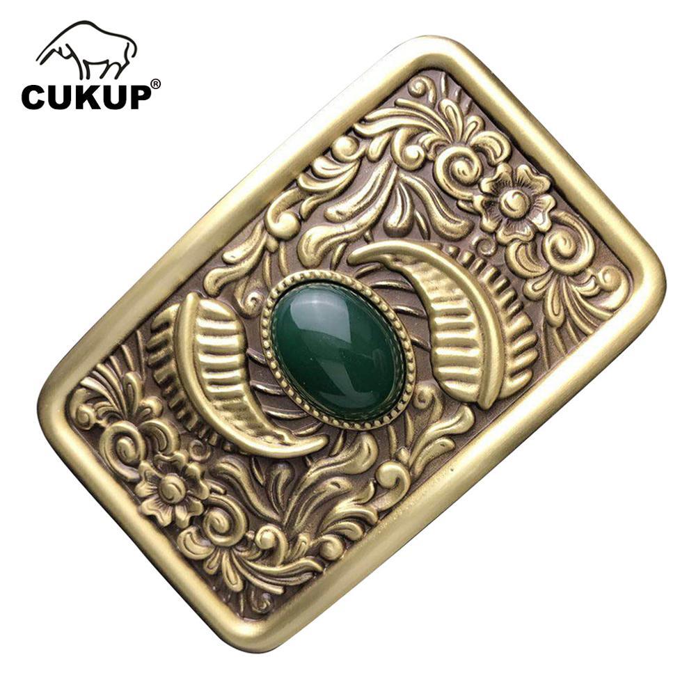 CUKUP Hand Carved Floral Pattern Brass Big Buckle Metal Real Jade 3.7-3.9cm Wide Belt Paties Wedding Buckles Only For Men BRK015