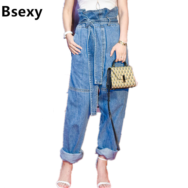 Women Harem Pants Jeans 2017 Fashion Vintage Ripped High Waist Drawstring Denim Trousers Loose Trousers roupas feminina