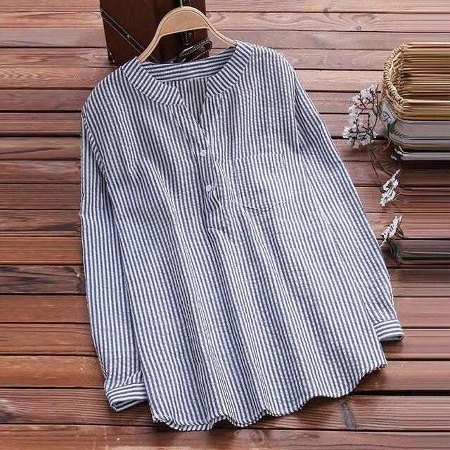 5961c37432 2019 Otoño de manga larga cuello en V blusa de rayas elegante Oficina de  Trabajo botón. Sitúa el cursor encima para ...