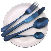 Синий icespoon Нержавеющая сталь столовые приборы из столовый набор светильник Портативный сумка острый стейк нож, вилки и ложки чайная ложка 1 шт