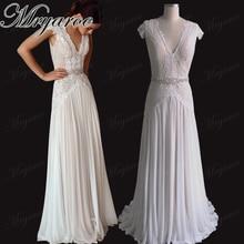 Mryarce Elegant V Neck Glitter Lace Open Back Wedding Dress Boho Chic Bridal Gowns With Rhinestone Belt