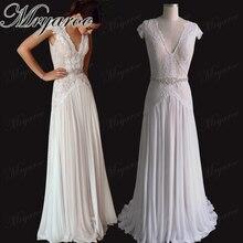 Mryarce 우아한 V 목 반짝이 레이스 오픈 다시 웨딩 드레스 Boho 세련 된 신부 가운 라인 석 벨트