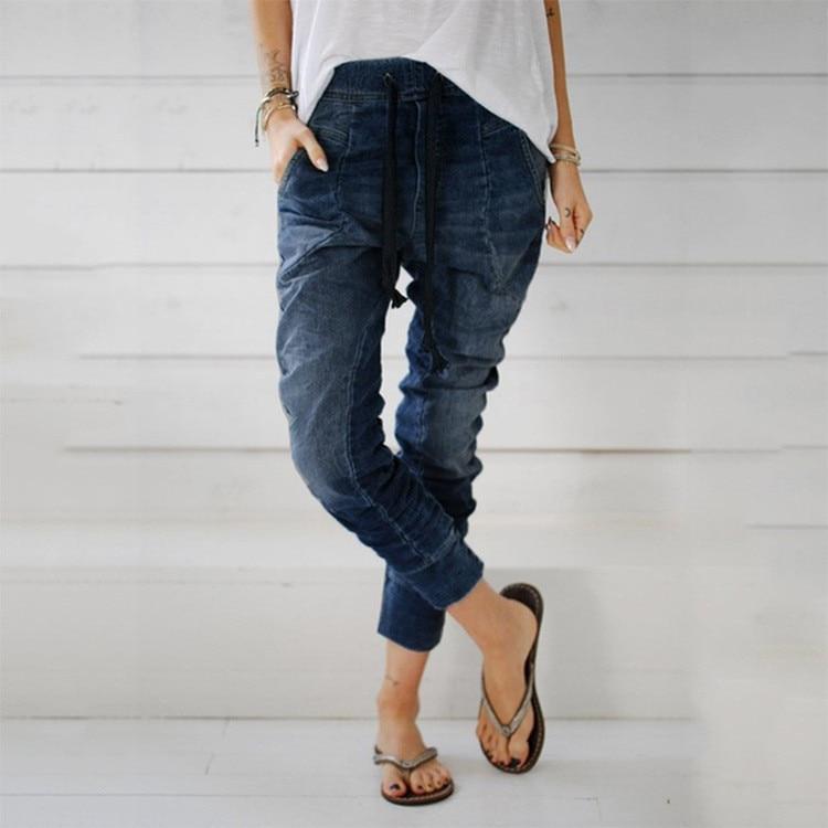 Womens Ladies Trousers Drawstring Jeans Pockets Casual Denim Baggy Harem Pants -1613