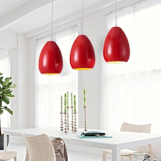 Modern Pendant Light Dining Room Kitchen Restaurant E27 Industrial Lamps Black White Red Iron Decor Home Lighting 110-220V