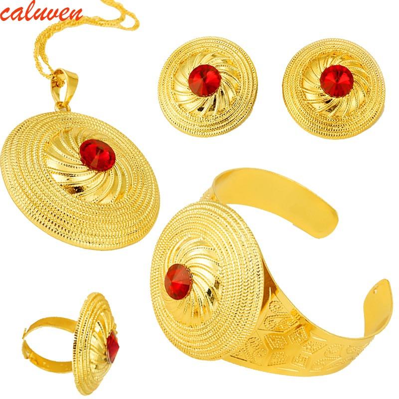Warna Batu Ethiopia Emas Set Perhiasan Liontin Kalung Anting Anting - Perhiasan fashion - Foto 1
