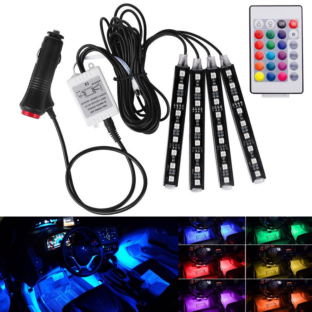 Wireless Remote Music Voice Control Car RGB LED Neon Interior Light Lamp Strip Decorative Lights DXY