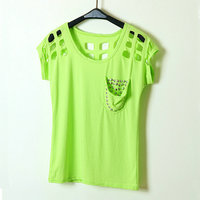 New Women European Style Rivets Pocket Hole Round Neck T Shirt Womens Short Sleeve T Shirts