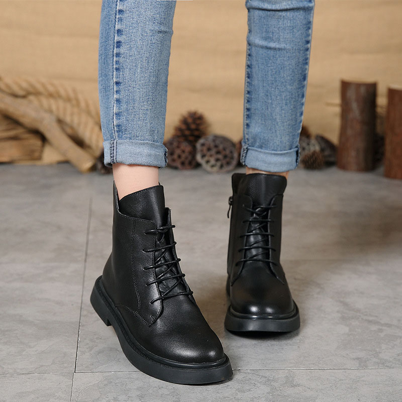Autumn and winter new women s shoes plus velvet warm boots women s casual fashion leather