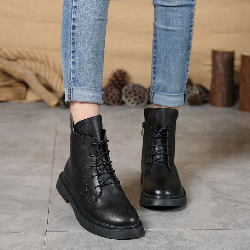 가을 겨울 새로운 여성 신발 플러스 벨벳 따뜻한 부츠 여성 캐주얼 패션 가죽 마틴 부츠-에서앵클 부츠부터 신발 의  그룹 1