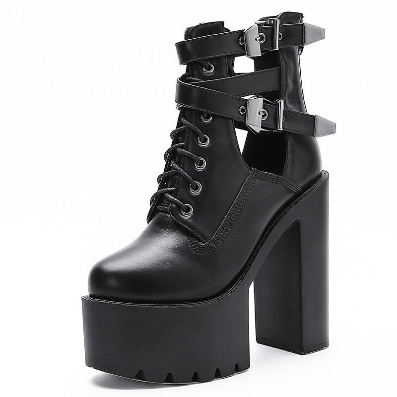 Gothique femmes printemps boucle croix sangle bloc mode talons hauts plate-forme bottes courtes Punk Rock moto Goth chaussures femme