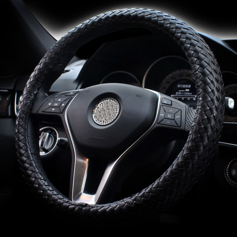 Classic Black Genuine Leather Car Steering Wheel Cover Weave Braid Style Auto Steering-wheel Covers Anti-slip Knit Car Accessory pillowcase classic style wave pattern car comfy back cushion cover