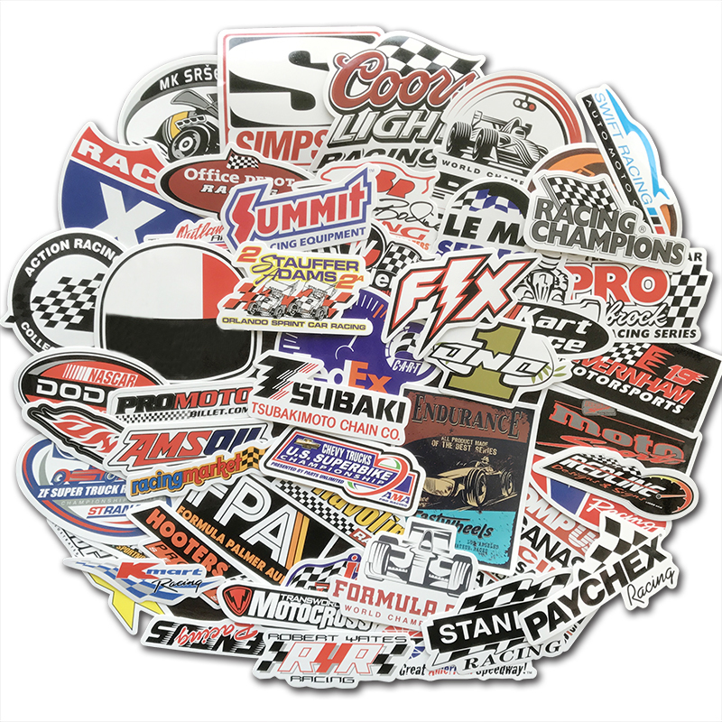 50 PCS Racing Car Sticker Graffiti JDM NHRA Drag Car Modification Waterproof Sticker For Motorcycle Helmet Motor Suitcase Laptop