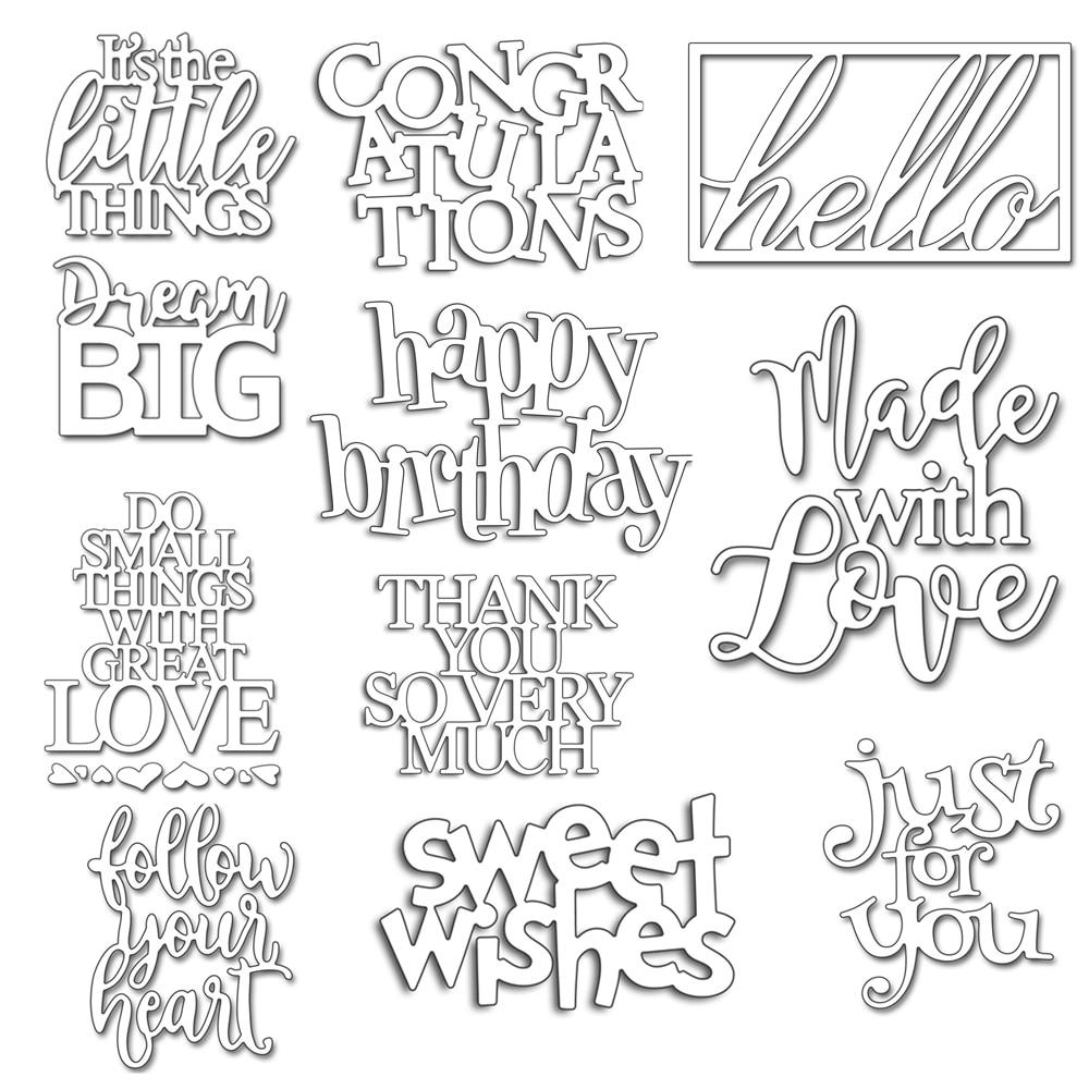 29 Types English Words Combination Metal Cutting Dies Stencil DIY Scrapbooking