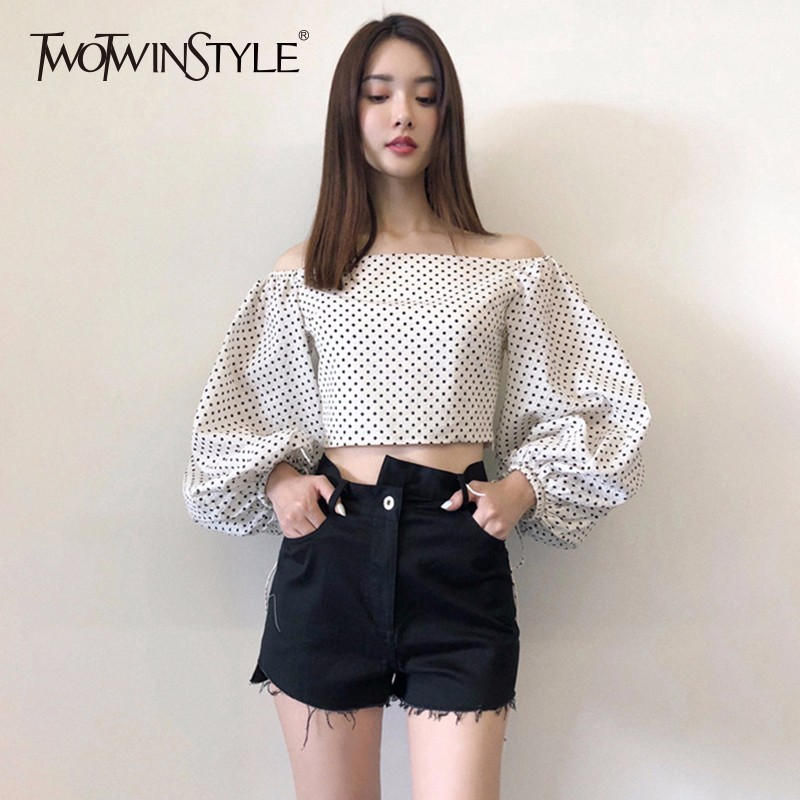03f9e8c15c076 TWOTWINSTYLE Dot Women s Blouse Slash Neck Off Shoulder Lantern Sleeve Draw String  Crop Top Shirt Summer Fashion Vintage Clothes-in Blouses   Shirts from ...