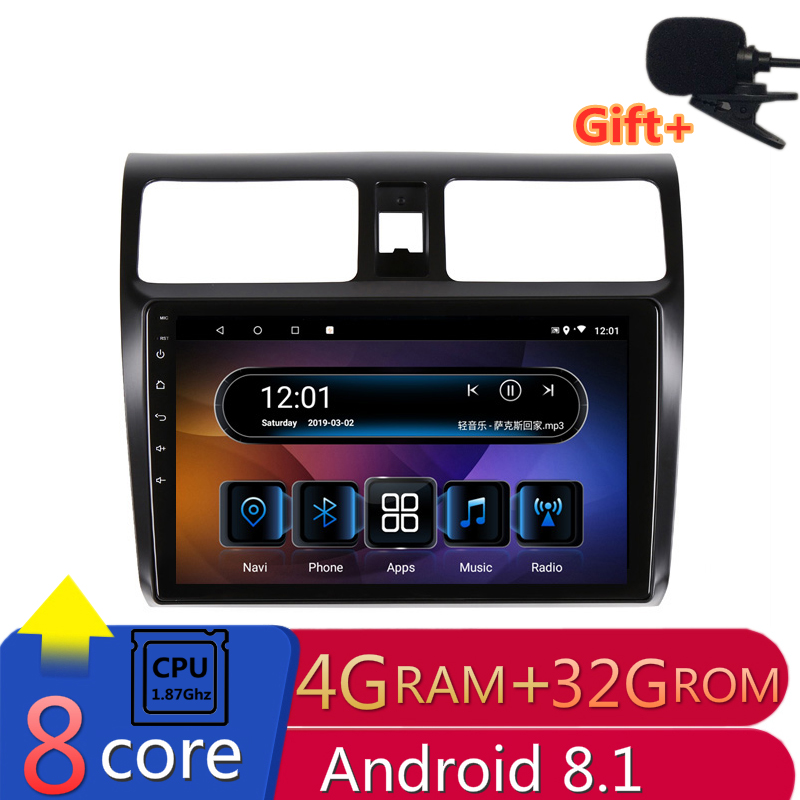 "9"" 4G RAM 8 cores Android Car DVD GPS Navigation for SUZUKI SWIFT 2005-2009 2010 audio stereo car radio headunit bluetooth wifi"