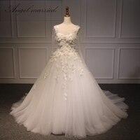 Angel Married Wedding Dress 2017 Wedding Dress Lace Up Back Illusion Bodice Vestido De Noiva Real