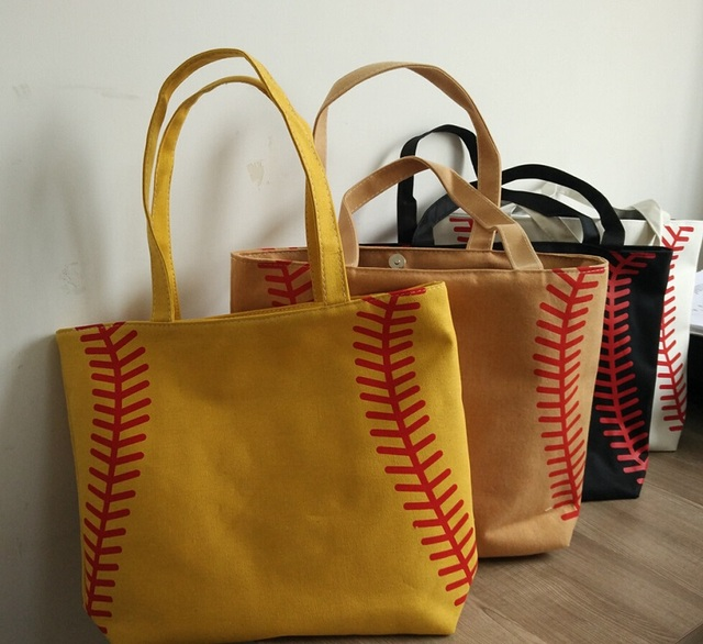new 4 colors in stock small baseball cycling Lady Canvas Bag Shoulder bag  Women s Handbag Cute Canva Tote Bag basketball 37716b7714983