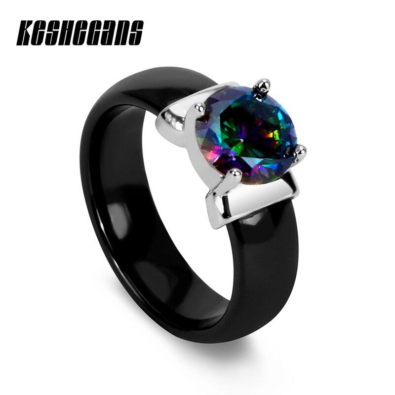 100% QualitäT Klassische Schwarz Weiß 6mm Keramik Ring Mit Großen Bunte/weiß Kristall Zirkonia Für Frauen Hochzeit Engagement Mode Schmuck