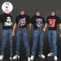 ZYTOYS 1/6 Printed T shirt Jeans Belt Set Male Figurine Clothes For 12 inches Soldier Action
